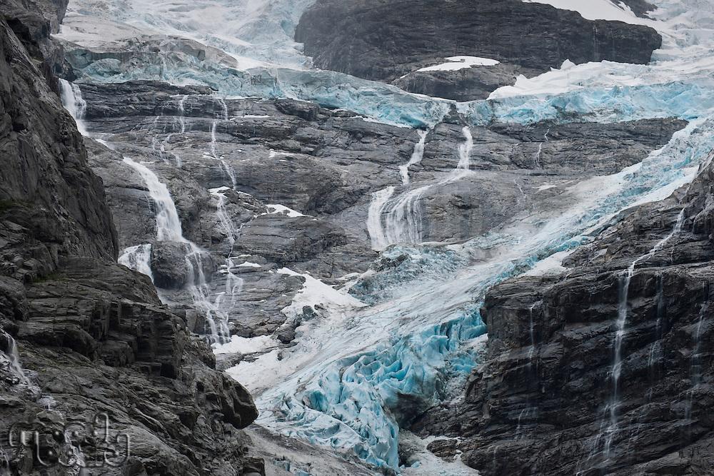 Norwegian rock face and waterfall