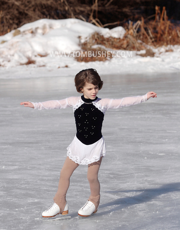 Livingston Manor, NY  -Sarah Hutchinson, 7, performs during the 49th annual Livingston Manor Rotary Ice Carnival on Jan. 27, 2008.