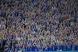 PARIS, FRANCE - Sunday, July 3, 2016: Iceland supporters during the UEFA Euro 2016 Championship Semi-Final match against France at the Stade de France. (Pic by Paul Greenwood/Propaganda)