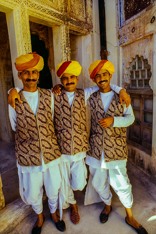 Rajasthani men in turbans, Mehrangarh Fort, Jodhpur, Rajasthan, India