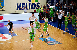 Mitja Bracic, Jure Besedic of Slovenia, Miha Vasl of Slovenia celebrate after winning the basketball match between National teams of Turkey and Slovenia in Qualifying Round of U20 Men European Championship Slovenia 2012, on July 17, 2012 in Domzale, Slovenia. Slovenia defeated Turkey 72-71 in last second of the game. (Photo by Vid Ponikvar / Sportida.com)