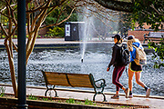 Gamecock coeds passing by the fountain at the  Thomas Cooper Library on the campus of the University of South Carolina in Columnbia, SC