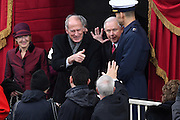 Director of National Intelligence Dan Coats, center, and Attorney General Jeff Sessions arrive for the 68th President Inaugural Ceremony of President Donald Trump on Capitol Hill January 20, 2017 in Washington, DC.