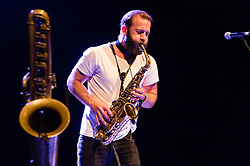 © Licensed to London News Pictures. 29/05/2014. Barcelona, Spain.   Colin Stetson performing live at Primavera Sound Festival.   Colin Stetson is an american saxophonist and multireedist, and touring member of the bands Arcade Fire, Bell Orchestre and Bon Iver.  Primavera Sound, or simply Primavera, is an annual music festival that takes place in Barcelona, Spain in late May/June within the Parc del Fòrum leisure site. Photo credit : Richard Isaac/LNP