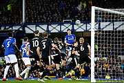 Everton defender Michael Keane (4) heads on goal from the corner during the Premier League match between Everton and Burnley at Goodison Park, Liverpool, England on 3 May 2019.