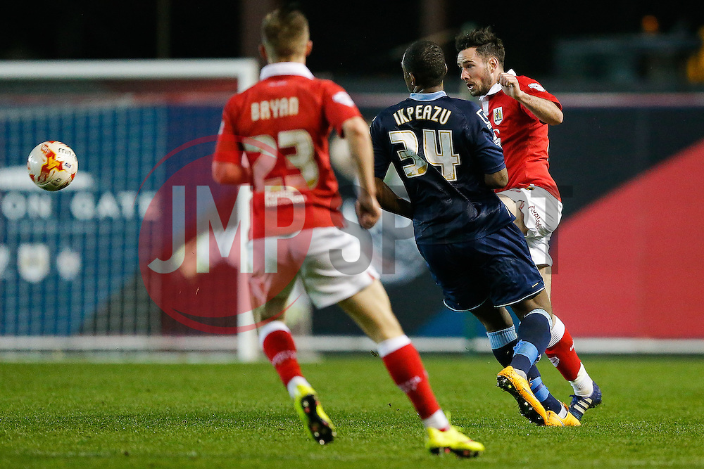 Marlon Pack of Bristol City is challenged by Uche Ikpeazu of Crewe Alexandra - Photo mandatory by-line: Rogan Thomson/JMP - 07966 386802 - 17/03/2015 - SPORT - FOOTBALL - Bristol, England - Ashton Gate Stadium - Bristol City v Crewe Alexandra - Sky Bet League 1.