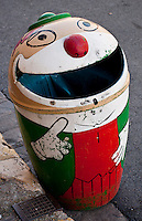 """Chartres, France. """"Monsieur Garbage"""" - amusing design for a garbage bin on the streets of the town."""