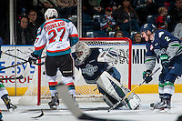 KELOWNA, CANADA - FEBRUARY 13: Matt Berlin #29 of the Seattle Thunderbirds makes a save on a shot by Calvin Thurkauf #27 of the Kelowna Rockets on February 13, 2017 at Prospera Place in Kelowna, British Columbia, Canada.  (Photo by Marissa Baecker/Shoot the Breeze)  *** Local Caption ***