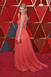 Samara Weaving walking on the red carpet during the 90th Academy Awards ceremony, presented by the Academy of Motion Picture Arts and Sciences, held at the Dolby Theatre in Hollywood, California on March 4, 2018. (Photo by Sthanlee Mirador/Sipa USA)