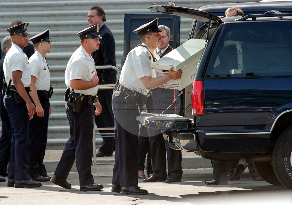 US Capitol Police under high security load copies of the Starr Report detailing the investigation of the affair between President Clinton and Monica Lewinsky September 10, 1998 in Washington, DC. The report will be made available to members of Congress and the public on September 11.