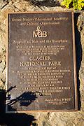 Historic biosphere reserve plaque at Logan Pass, Glacier National Park, Montana USA
