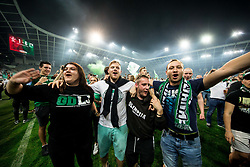 Green Dragons, Supporters of Olimpija celebrate at pitch after their team won during football match between NK Aluminij and NK Olimpija Ljubljana in the Final of Slovenian Football Cup 2017/18, on May 30, 2018 in SRC Stozice, Ljubljana, Slovenia. Photo by Vid Ponikvar / Sportida