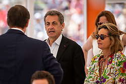 Nicolas Sarkozy and Valeria Bruni-Tedeschi's daughter Celine Garrel attend the match Rafael Nadal vs Grigor Dimitrov (6-4, 6-1) during the Monte Carlo Rolex Masters at the Country Club of Monaco. Monaco on april 21th, 2018. Photo by ABACAPRESS.COM