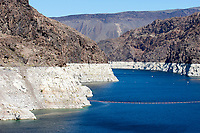 Shot up lake Mead showing the very low water levels and previous level - , Hoover Dam , Nevada, USA