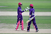 Georgia Adams and Georgia Elwiss of Loughborough Lightning during the Kia Women's Cricket Super League semi-final match between Loughborough Lightning and Southern Vipers at the 1st Central County Ground, Hove, United Kingdom on 1 September 2019.