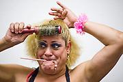 Lucha Libre AAA wrestler Pimpinela prepares for a match in Sacramento, CA March 28, 2009.