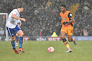 HUll City Forward, Chuba Akpom breaks through the middle during the The FA Cup fourth round match between Bury and Hull City at Gigg Lane, Bury, England on 30 January 2016. Photo by Mark Pollitt.