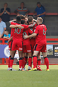 Crawley Town celebrates Crawley Town midfielder Enzio Boldewijn's (7) goal during the EFL Sky Bet League 2 match between Crawley Town and Notts County at the Checkatrade.com Stadium, Crawley, England on 27 August 2016. Photo by Andy Walter.
