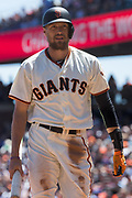 San Francisco Giants right fielder Hunter Pence (8) reacts to a strikeout against the Los Angeles Dodgers at AT&T Park in San Francisco, California, on April 27, 2017. (Stan Olszewski/Special to S.F. Examiner)