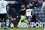 Preston North End striker Stevie May (21) shoots during the EFL Sky Bet Championship match between Preston North End and Brighton and Hove Albion at Deepdale, Preston, England on 14 January 2017.