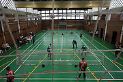 Goalball Spielfeld bei einem internationalen Turnier in Budapest. Goalball ist eine Mannschaftssportart für blinde und sehbehinderte Menschen und wurde vom Österreicher Hans Lorenzen und dem deutschen Sepp Reindle für Kriegsinvalide entwickelt und zum ersten Mal 1946 gespielt. Die Bilder entstanden auf zwei internationalen Goalball Turnieren in Budapest und Zagreb 2007.<br /> <br /> Goalball field during a tournament in Budapest. Goalball is a team sport designed for blind and visually impaired athletes. It was devised by an Austrian, Hanz Lorenzen, and a German, Sepp Reindle, in 1946 in an effort to help in the rehabilitation of visually impaired World War II veterans. The International Blind Sports Federation (IBSA - www.ibsa.es), responsible for fifteen sports for the blind and partially sighted in total, is the governing body for this sport. The images were made during two Goalball tournaments in Budapest and Zahreb 2007.