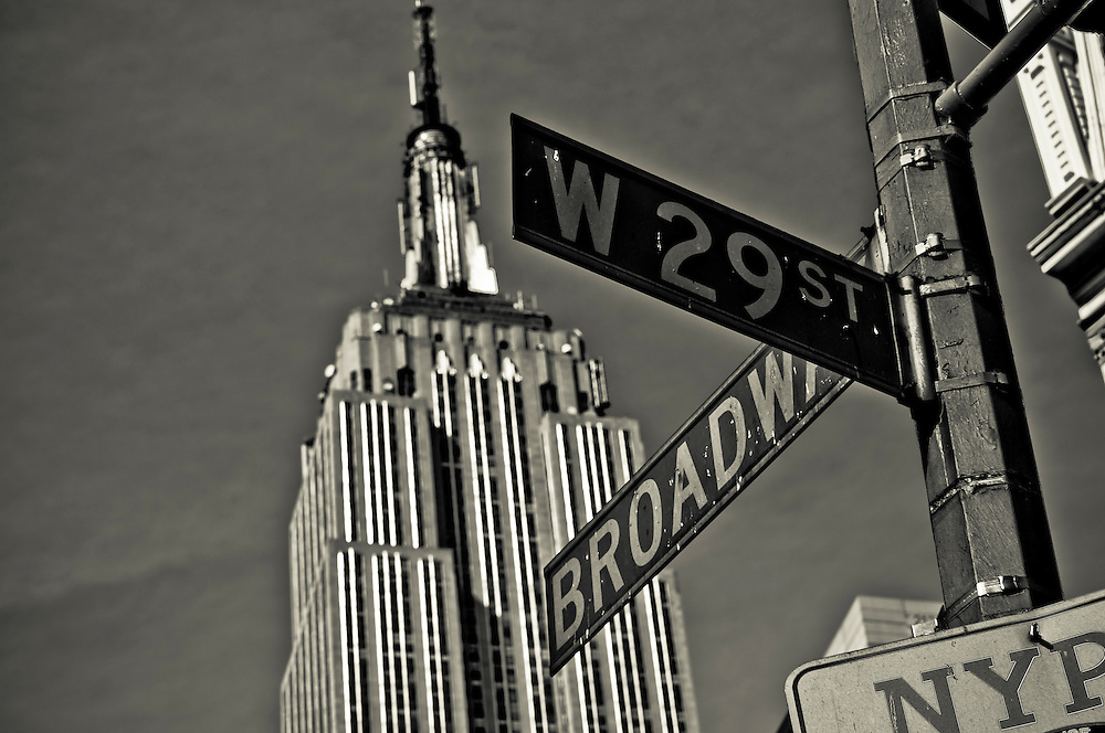 View of the Empire State Building from the corner of West 29th street and Broadway Avenue, Manhattan, New York, 2009.