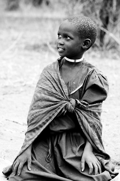 TANZANIA. Longido Mountain Area..August 3rd 2009..A Maasai kid..