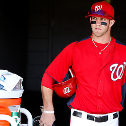 March 4, 2011; Viera, FL, USA; Washington Nationals right fielder Bryce Harper (34) before a spring training exhibition game against the Atlanta Braves at Space Coast Stadium.  Mandatory Credit: Derick E. Hingle