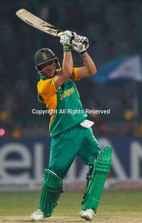 24.02.2011 Cricket World Cup from the Feroz Shah Kotla stadium in Delhi. South Africa v West Indies. AB de Villiers of South Africa plays a shot during the match of the ICC Cricket World Cup between South Africa and West Indies on the 24th February 2011