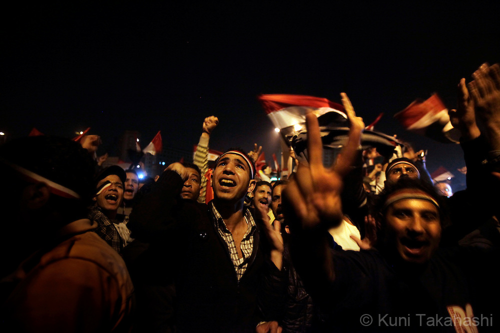 Anti-government protesters celebrate at Tahrir Sq in Cairo Egypt on Feb 11, 2011 following President Hosni Mubarak's resignation. .Photo by Kuni Takahashi