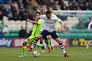 Preston North End Defender Bailey Wright (6) beats Brighton striker, Sam Baldock (9) to the ball during the Sky Bet Championship match between Preston North End and Brighton and Hove Albion at Deepdale, Preston, England on 5 March 2016.