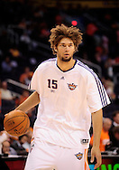 May 25, 2010; Phoenix, AZ, USA; Phoenix Suns center Robin Lopez (15) warms up prior to the first quarter in game four of the western conference finals in the 2010 NBA Playoffs at US Airways Center.  Mandatory Credit: Jennifer Stewart-US PRESSWIRE