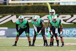Nov 25, 2017; Huntington, WV, USA; Marshall Thundering Herd players wait for a kickoff during the third quarter against the Southern Miss Golden Eagles at Joan C. Edwards Stadium. Mandatory Credit: Ben Queen-USA TODAY Sports
