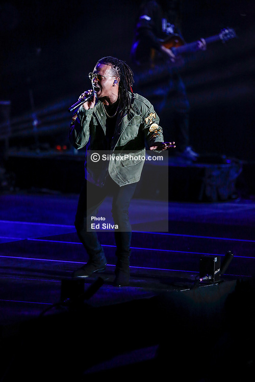 INGLEWOOD, CA - NOVEMBER 24: Ozuna performs live on stage at The Forum in support of his Odisea Society USA Tour 2017 on November 24, 2017 in Inglewood, California. Byline, credit, TV usage, web usage or linkback must read SILVEXPHOTO.COM. Failure to byline correctly will incur double the agreed fee. Tel: +1 714 504 6870.
