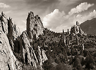 Strange rock forms called Geological Fins at Garden of the Gods State Park, Colorado Springs, Colorado, USA