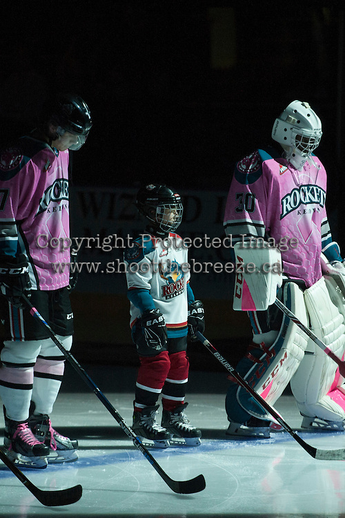 KELOWNA, CANADA - OCTOBER 15: The Pepsi Save On Foods Player of the game lines up with the Kelowna Rockets on October 15, 2016 at Prospera Place in Kelowna, British Columbia, Canada.  (Photo by Marissa Baecker/Shoot the Breeze)  *** Local Caption *** Pepsi Player;