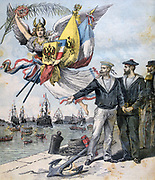 Franco-Russian Alliance: French and Russian sailors holding hands in brotherly entente  during the visit of the Russian Mediterranean Fleet to the French naval port of Toulon. From 'Le Petit Journal', Paris, 30 September 1893.