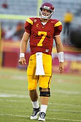 September 11, 2010; Los Angeles, CA, USA;  Southern California Trojans quarterback Matt Barkley (7) before the game against the Virginia Cavaliers at the Los Angeles Memorial Coliseum. USC defeated Virginia 17-14.