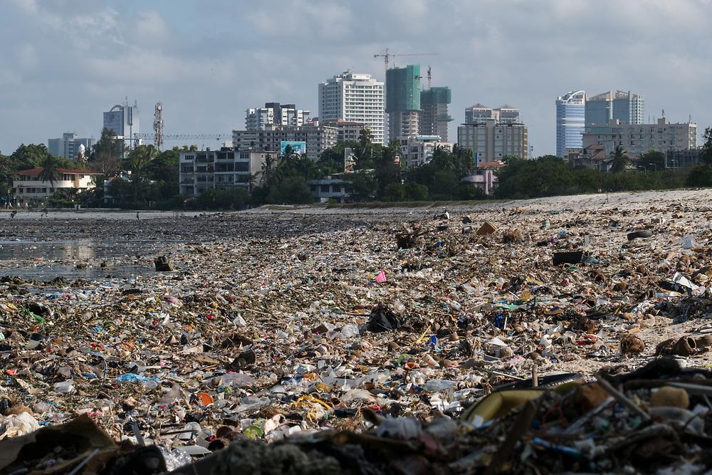 Dar es Salaam, Tanzania - 28.10.17  - Trash lines Selander beach in Dar es Salaam, Tanzania on October 28, 2017.