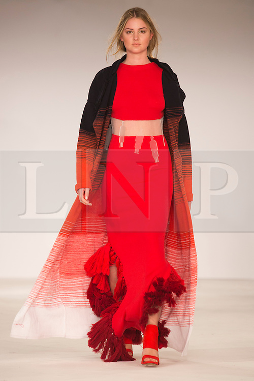 © Licensed to London News Pictures. 31/05/2014. London, England. Collection by Emma Lawrie from Edinburgh College of Art. Graduate Fashion Week 2014, Runway Show at the Old Truman Brewery in London, United Kingdom. Photo credit: Bettina Strenske/LNP