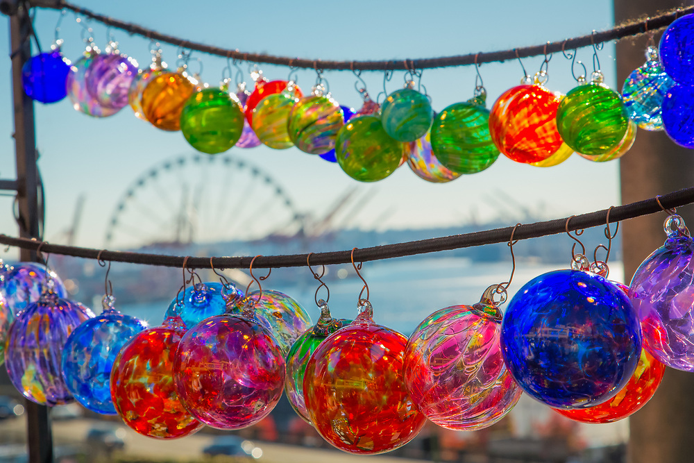 United States, Washington, Seattle, Glass ornaments for sale at Pike Place Market