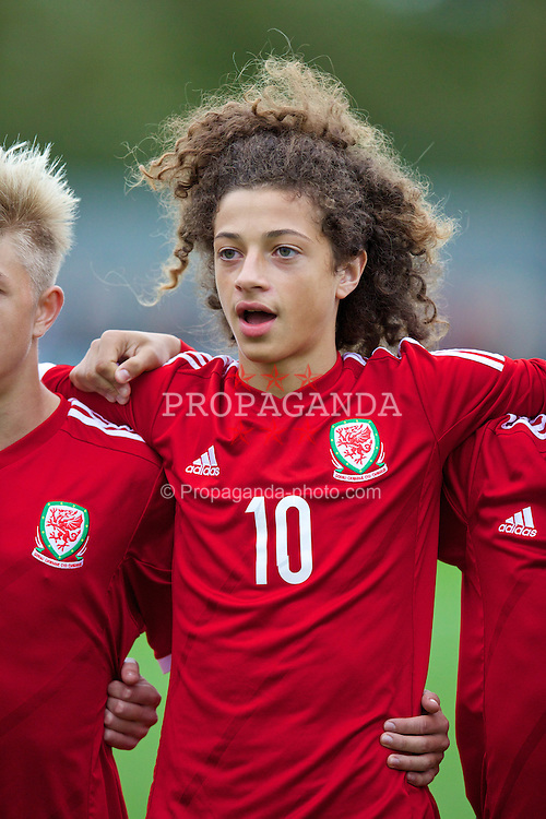NEWPORT, WALES - Thursday, September 25, 2014: Wales' Ethan Ampadu sings the national anthem before the Under-16's International Friendly match against France at Dragon Park. (Pic by David Rawcliffe/Propaganda)
