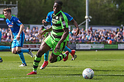 Forest Green Rovers Isaiah Osbourne(34) on the ball during the EFL Sky Bet League 2 match between Forest Green Rovers and Grimsby Town FC at the New Lawn, Forest Green, United Kingdom on 5 May 2018. Picture by Shane Healey.