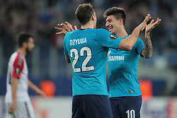November 23, 2017 - Russia - forward Artem Dzyuba of FC Zenit and midfielder Emiliano Rigoni of FC Zenit during UEFA Europa League Football match Zenit - Vardar. Saint Petersburg, November 23,2017 (Credit Image: © Anatoliy Medved/Pacific Press via ZUMA Wire)