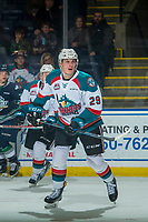 KELOWNA, CANADA - JANUARY 5: Nolan Foote #29 of the Kelowna Rockets skates against the Seattle Thunderbirds on January 5, 2017 at Prospera Place in Kelowna, British Columbia, Canada.  (Photo by Marissa Baecker/Shoot the Breeze)  *** Local Caption ***
