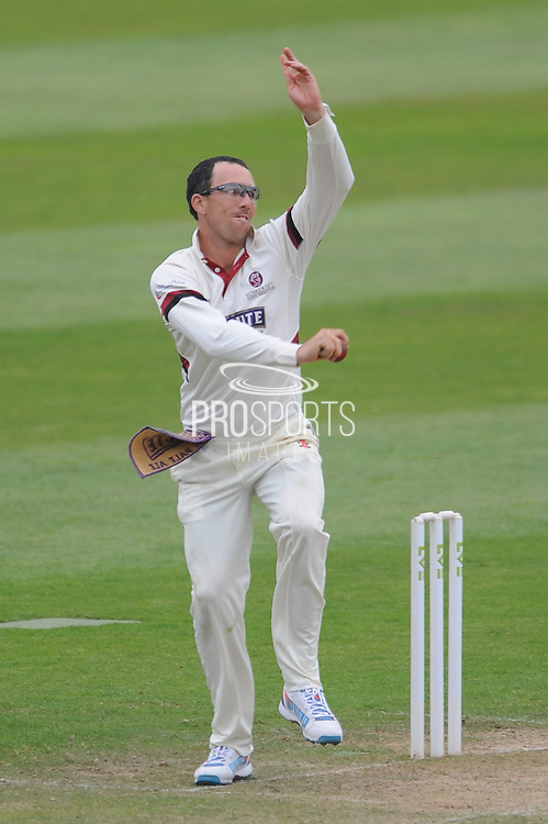 Tom Cooper bowling during the LV County Championship Div 1 match between Somerset County Cricket Club and Hampshire County Cricket Club at the County Ground, Taunton, United Kingdom on 11 September 2015. Photo by David Vokes.