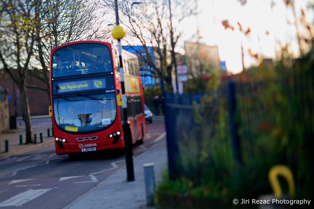UK ENGLAND LONDON 8DEC13 - Rail replacement double-decker bus in Hackney, east London.<br /> <br /> jre/Photo by Jiri Rezac<br /> <br /> © Jiri Rezac 2013