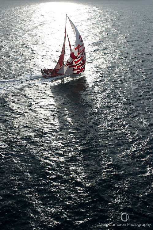 CAMPER with Emirates Team New Zealand. On the final leg of their 2000 mile qualifier approach Auckland. 15/5/2011
