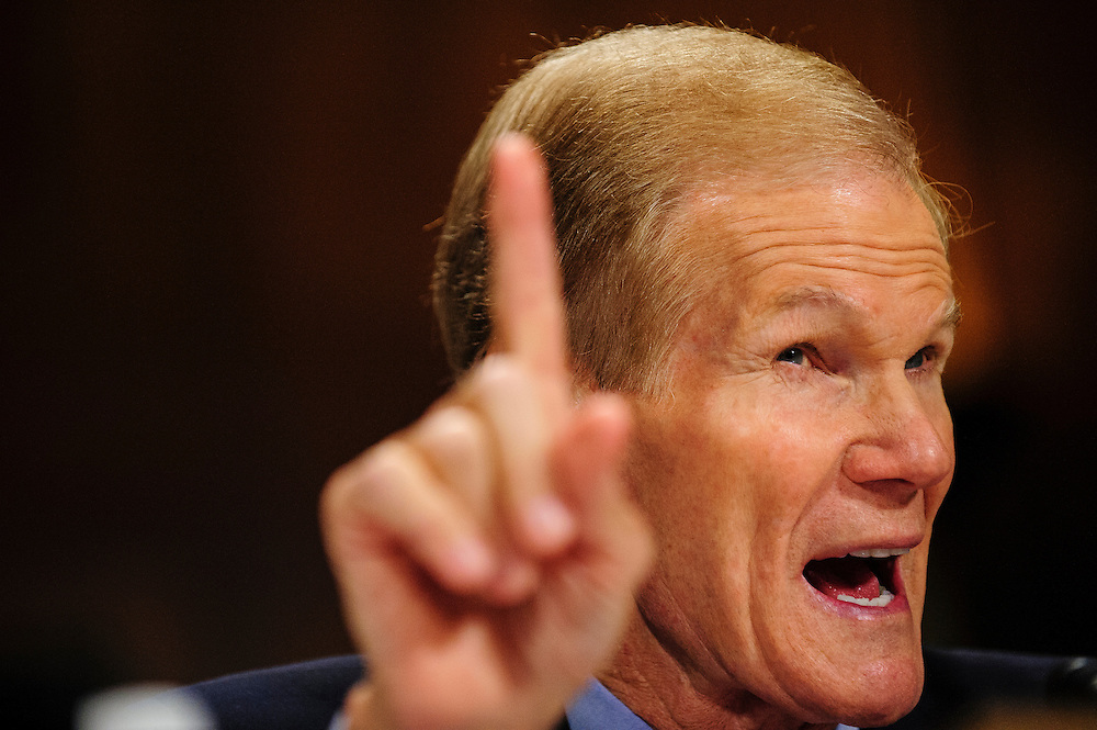 "Senator BILL NELSON (D-FL) testifies before a Senate Judiciary Committee hearing on Capitol Hill Wednesday about ""The State Of The Right To Vote After The 2012 Election."" The hearing focused on American's access to the voting booth and the continuing need for protections against efforts to limit or suppress voting."