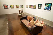 "55th Art Biennale in Venice - The Encyclopedic Palace (Il Palazzo Enciclopedico).<br /> Arsenale.<br /> Jessica Jackson Hutchins (U.S.A.) ""Carpaccio"", 2013 (front) and ""Lascaux"", 2012."